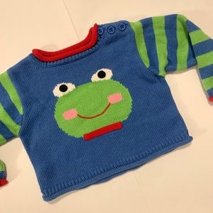 6 Month ZubeLs Frog Sweater Like New